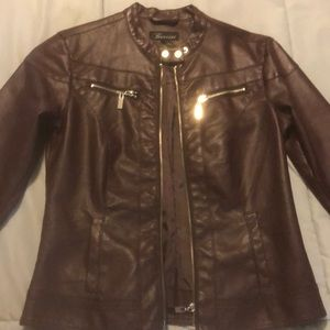Plum Baccini Faux Leather Jacket